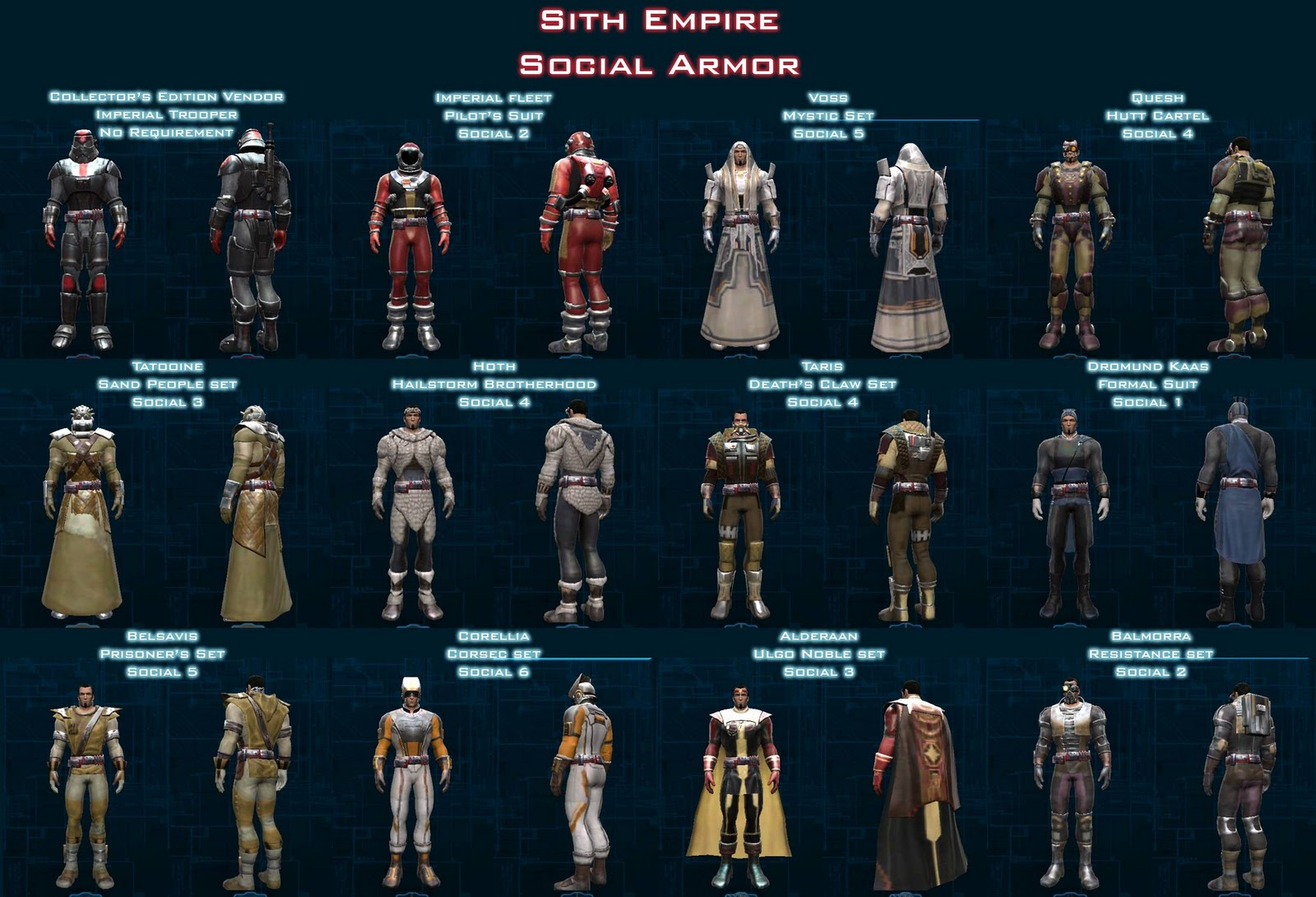 SWTOR Planetary Social Armor/Outfits