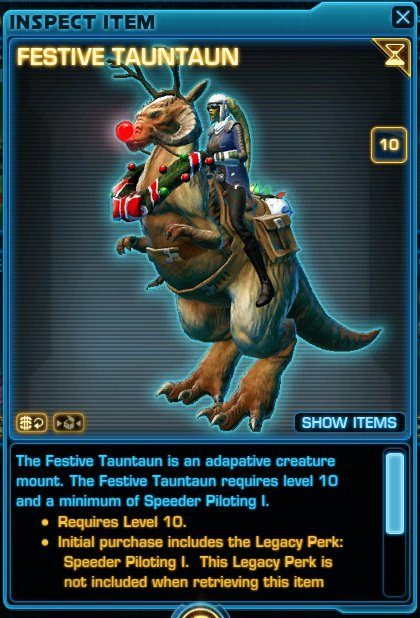 Festive Tauntaun on PTS collections