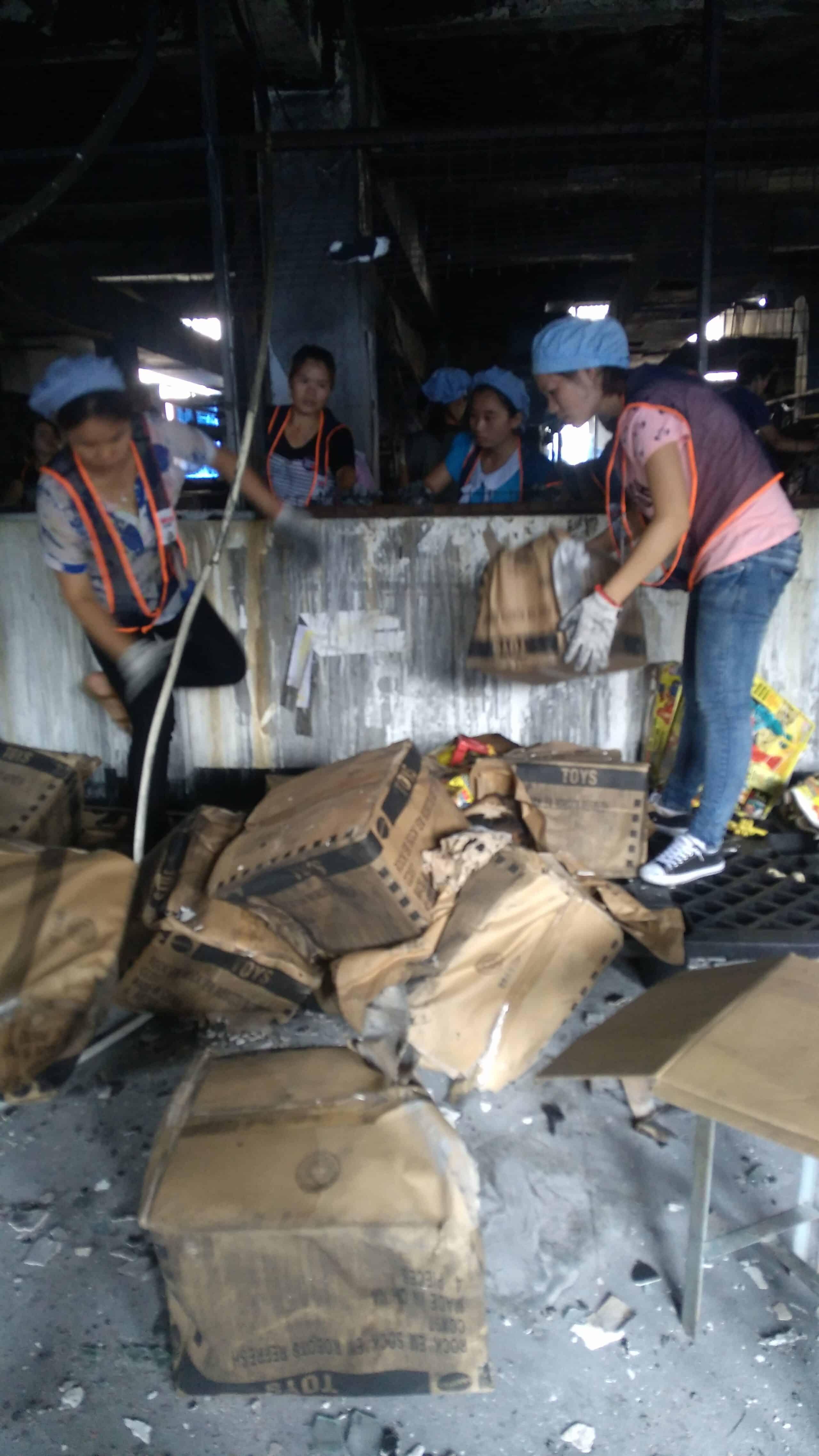 Undamaged toys removed; destroyed toys left on the scene