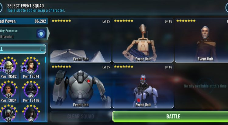 Star Wars Galaxy of Heroes Update on Droideka in Phase 3 of the Sith Triumvirate Raid